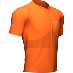 Compressport Trail Fitted Top Manga Corta Media Cremallera Hombre, curcuma